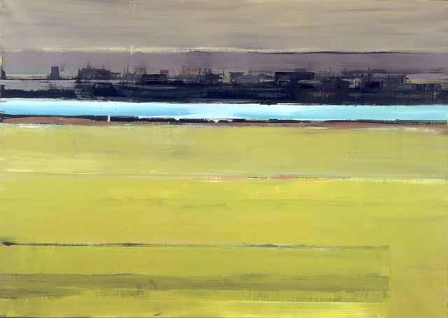 Schilderij Buitenruimte Helmuth van Galen, Blauw lint ∙120 x 170 cm ∙ 2001 acryl/linnen ∙ Particulier bezit