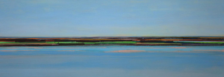 landschap, water, blauw, groen, heldere kleuren, abstract, verte, lage horizon