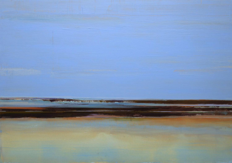 blauwe lucht, zee, horizon, weerspiegeling, water, rotsen