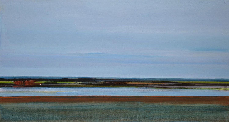 blauw, lucht, water, weerspiegeling, groen, warme kleuren, abstract