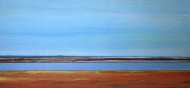 blauw, lucht, water, warme kleuren, bruin, verstild, verte, abstract