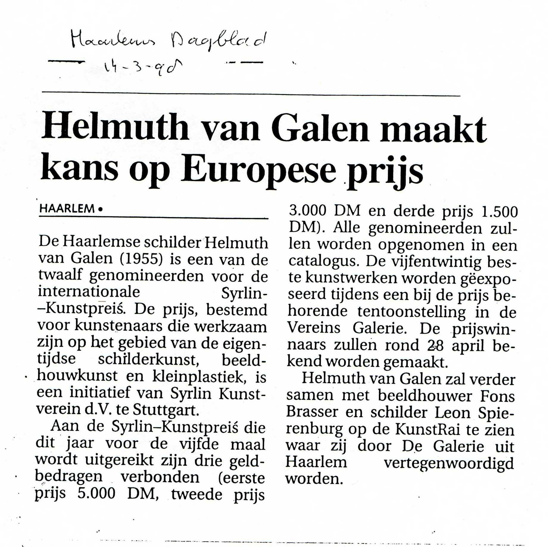 Helmuth van Galen genomineerde Syrlinn Kunstpreis Stuttgart,KunstRai Amsterdam