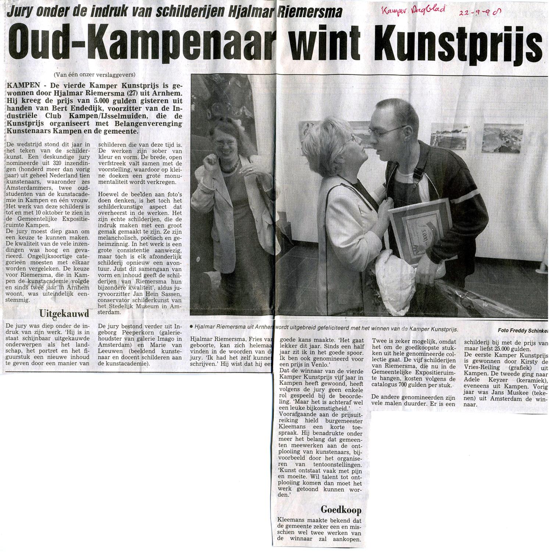 Helmuth van Galen genomineerde kamper Schilderprijs, 22-9-1998