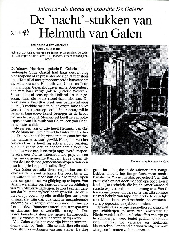 artikel Haarlems Dagblad over tentoonstelling Binnenruimte van Helmuth van Galen
