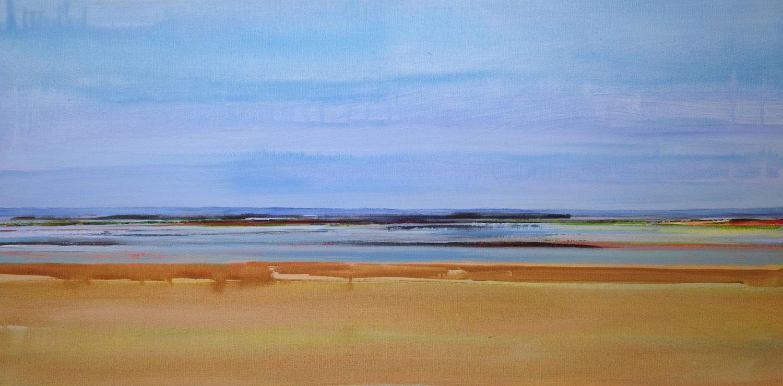 landschap, kustlijn, zand, water, oker, blauw, lucht
