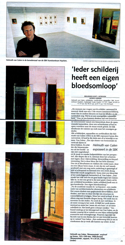 Recensie Binnenruimte Haarlems Dagblad, 10-2-2001, Monica Aerden, Kunst Centrum Haarlem