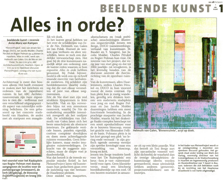 """Recensie Haarlems Dagblad """"Alles in Orde"""", 1-11-2001, ABC Architectuurmuseum Haarlem met Jan Polak, Eric de Nie en Helmuth van galen"""