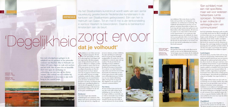 april 2003, interview in blad Staalbankiers tentoonstelling Binnenruimte en Buitenruimte in Haarlem en Amsterdam