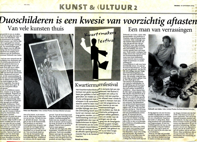 Recensie Haarlems Dagblad, 10-10-2004, Kwartiermakersfestival Haarlem, Duoschilderen