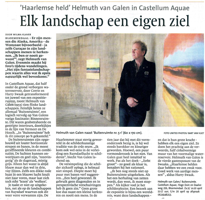 Recensie Haarlems Dagblad, 4-9-2011 door Wilma Klaver over Buitenruimte in Castellvm Aqvae, Bloemendaal bij Corry en Harry Swaak
