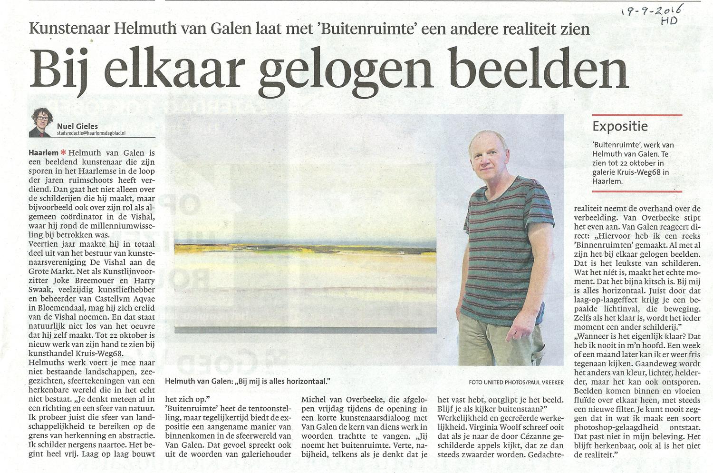 Artikel Haarlems Dagblad van Nuel Gieles over tentoonstelling Buitenruimte van Helmuth van Galen