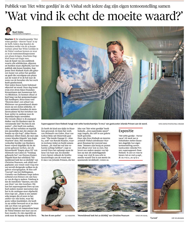 Artikel Haarlems Dagblad van Nuel Gieles over tentoonstelling in de Vishal