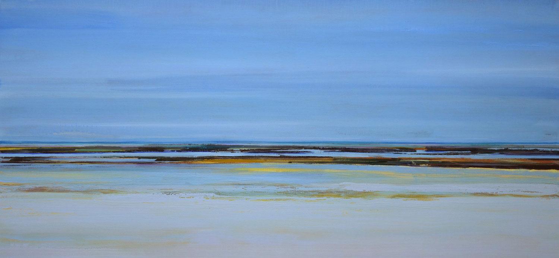 verte, landschap, zee, blauw, water, geel en bruin, oker, verstild, sfeer, abstract