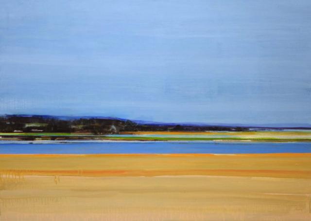 landschap, heuvels, bos, bomen, blauw, geel, zand, water, blauwsfeer, nevel