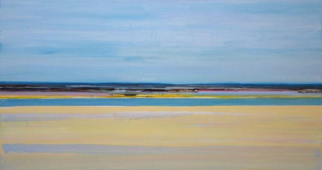 kustlijn, strand, water, blauw, geel, zand, fris, levendig, landschap