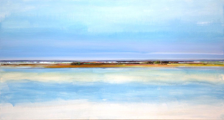 landschap, zee, reflectie, wolken, water