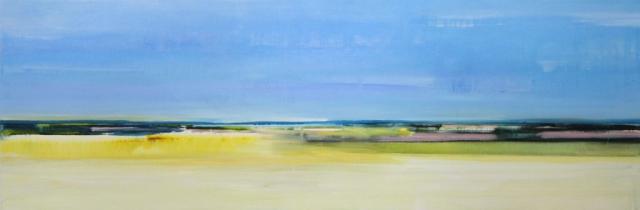 panorama, zee, water, blauw, geel, fris, vrolijk, helder, abstract, vergezicht