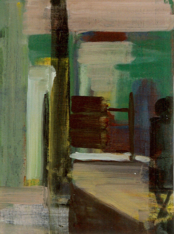 Schilderij Helmuth van Galen Binnenruimte ∙ 30x40 cm ∙ acryl op linnen ∙ 1998 ∙ Particulier bezit