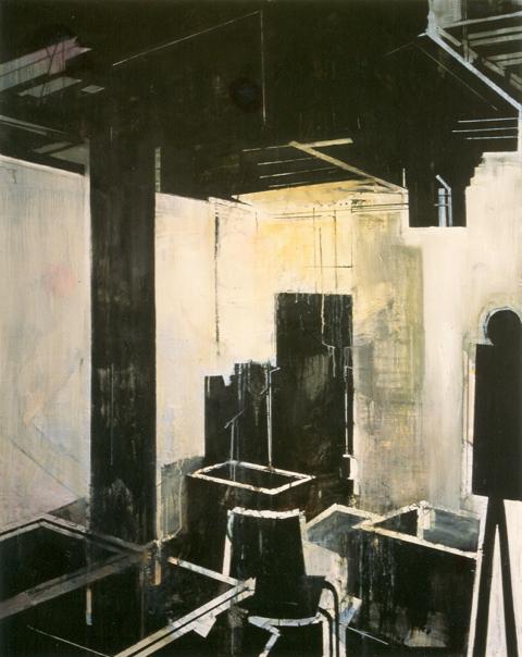 Schilderij Helmuth van Galen Binnenruimte III ∙ 150x200 cm ∙ olieverf/linnen ∙ 1995 ∙ Gemeente Haarlem