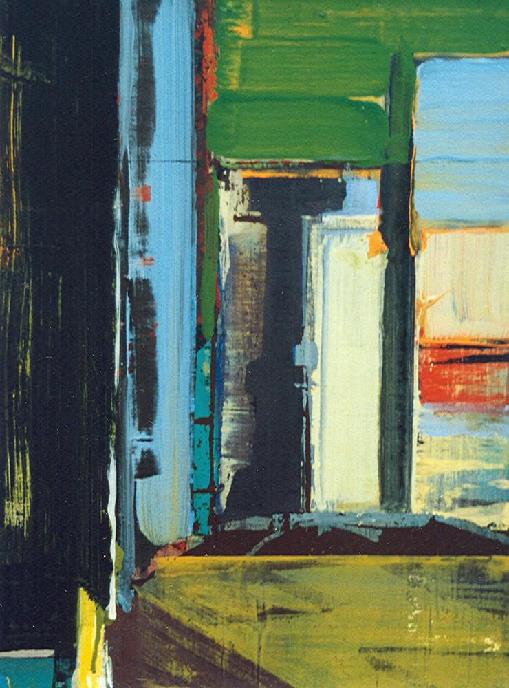 Schilderij Helmuth van Galen Binnenruimte II ∙ 30x40 cm ∙ acryl op linnen ∙ 1998 ∙   Particulier bezit