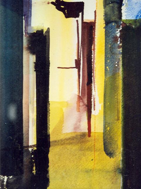 Schilderij Helmuth van Galen Binnenruimte a-16 ∙ 14x21 cm ∙ aquarel ∙ 2001 ∙ Particulier bezit