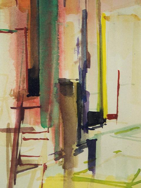 Schilderij Helmuth van Galen Binnenruimte a-19 ∙ 14x21 cm ∙ aquarel ∙ 2001 ∙ Particulier bezit
