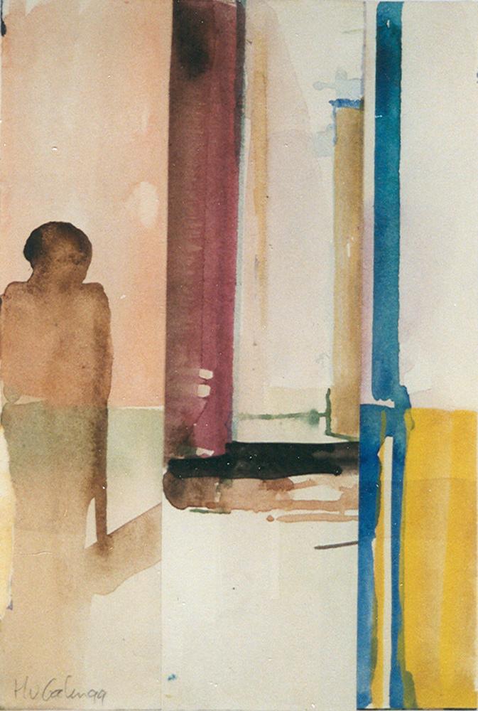 Schilderij Helmuth van Galen Binnenruimte a-2 ∙ 14x21 cm ∙ aquarel ∙ 1999 ∙ Particulier bezit
