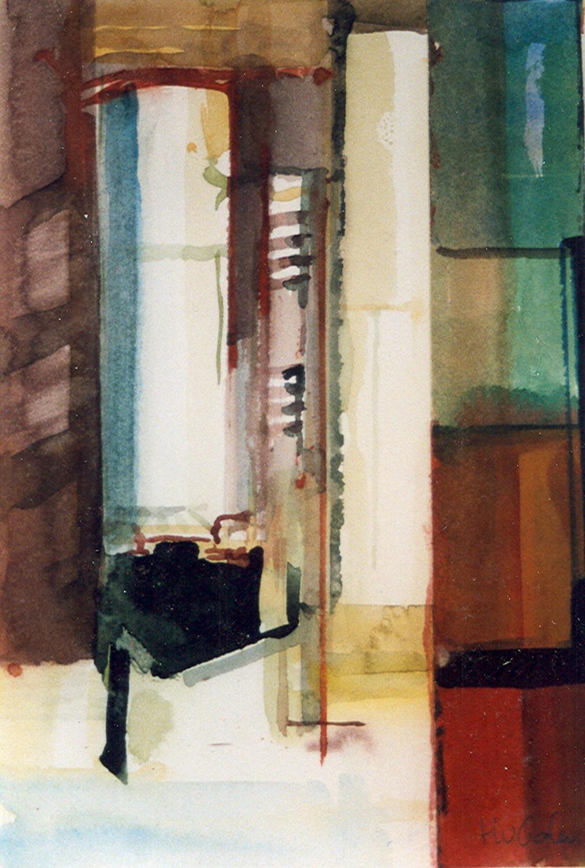 Schilderij Helmuth van Galen Binnenruimte a-33 ∙ 14x21 cm ∙ aquarel ∙ 2001 ∙ SBK Haarlem