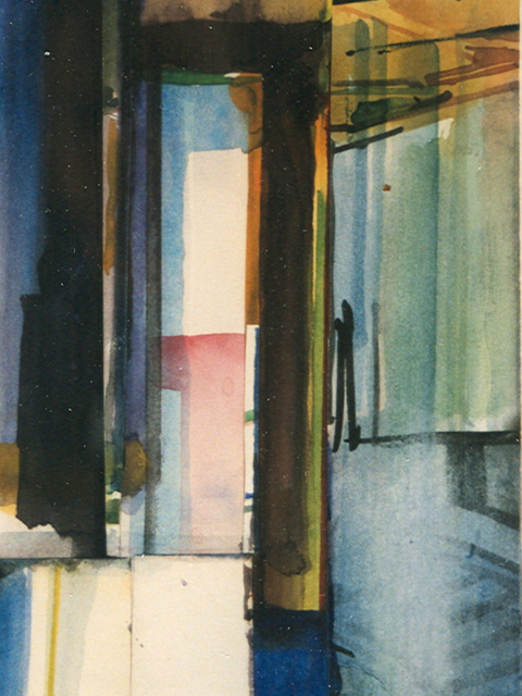 Schilderij Helmuth van Galen Binnenruimte  a-6 ∙ 14x21 cm ∙ aquarel ∙ 2001 ∙ Particulier bezit