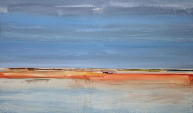 landschap, zee, sfeer, rood en oranje, water, blauw, sfeer