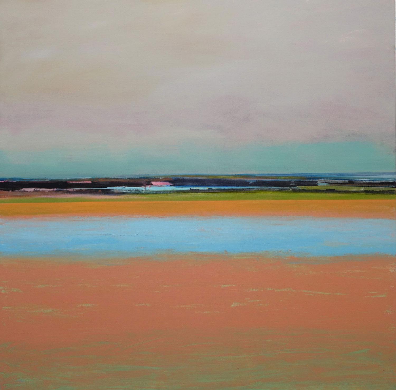 landschap, hoge horizon, warme kleuren, blauw, zand, water, romantisch