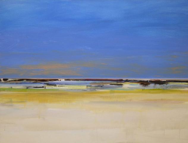 blauwe lucht, geel, strand, zand, fris, zee, levendig
