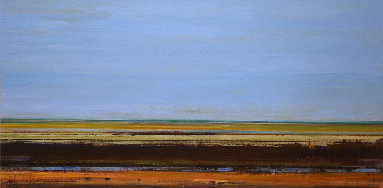 landschap, blauwe lucht, snelheid, bruin en rood, abstract